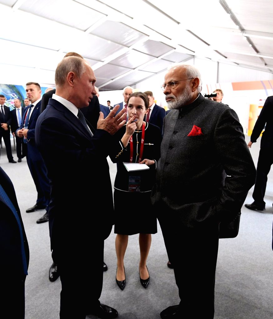 Vladivostok: Prime Minister Narendra Modi and Russian President Vladimir Putin visit the Zvezda ship-building facility which is being expanded and has scope for foreign investment on Sep 4, 2019. The facility, located in Russia's Far East, was used t - Narendra Modi