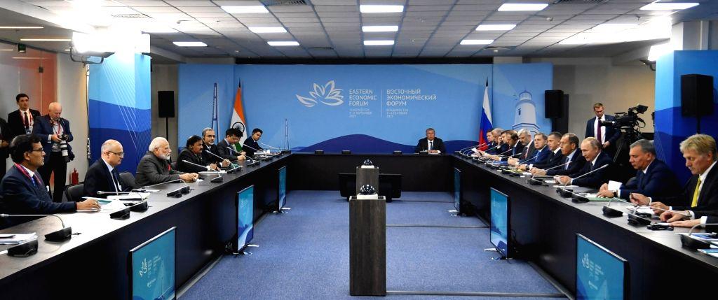 Vladivostok: Prime Minister Narendra Modi and Russian President Vladimir Putin during delegation level talks, in Vladivostok on Sep 4, 2019. (Photo: IANS/PIB) - Narendra Modi
