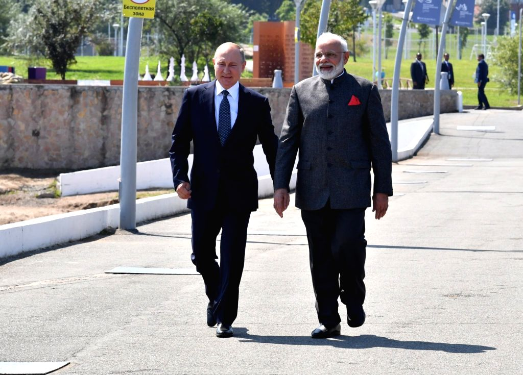 Vladivostok: Prime Minister Narendra Modi meets Russian President Vladimir Putin in Vladivostok, Russia on Sep 4, 2019. (Photo: IANS/MEA) - Narendra Modi