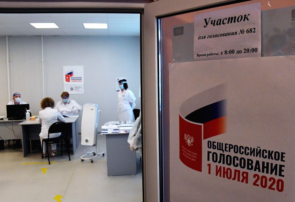 Vladivostok (RUSSIA), June 25, 2020 Photo taken on June 25, 2020 shows a polling station for a vote on constitutional amendments in Vladivostok, Russia. The all-Russian vote on ...