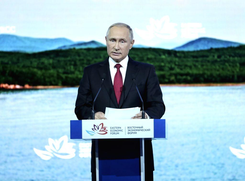 VLADIVOSTOK, Sept. 12, 2018 (Xinhua) -- Russian President Vladimir Putin addresses the plenary session of the fourth Eastern Economic Forum (EEF) held in Vladivostok in Russia's Far East, on Sept. 12, 2018. (Xinhua/Pang Xinglei/IANS)