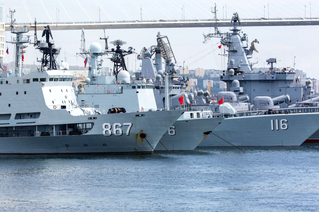 """VLADIVOSTOK, Sept. 18, 2017 - The Chinese naval fleet docks at the port in Vladivostok, Russia, on Sept. 18, 2017. China and Russia started the second stage of their """"Joint Sea-2017"""" ..."""