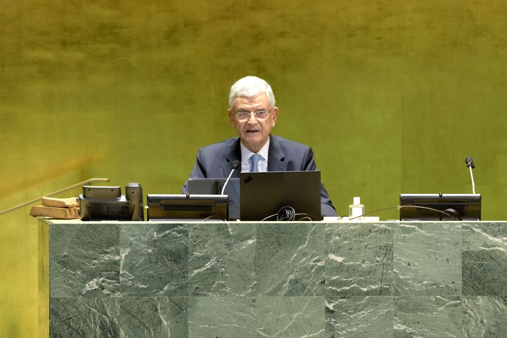 Volkan Bozkir, president of the 75th session of the United Nations General Assembly (UNGA), addresses a high-level meeting to commemorate the 75th ...