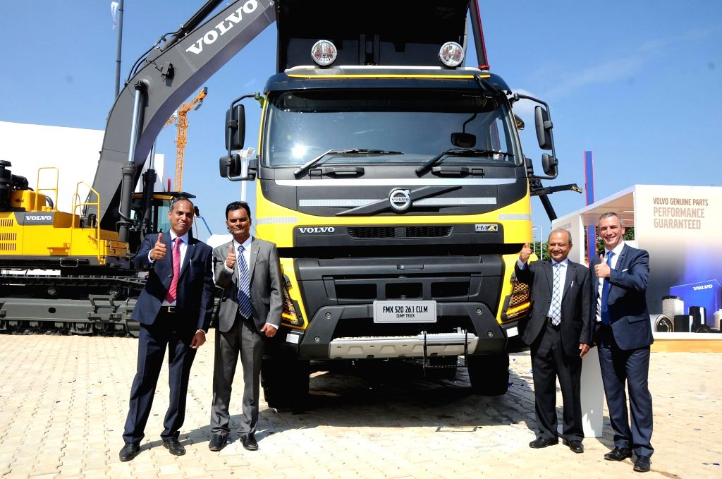 Volvo Trucks (India) President Pierre Jean Verge Salamon at the launch of  Volvo's new trucks for various mining applications in Bengaluru on Nov 27, 2015.