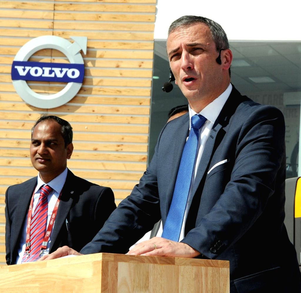 Volvo Trucks (India) President Pierre Jean Verge Salamon addresses at the launch of  Volvo's new trucks for various mining applications in Bengaluru on Nov 27, 2015.