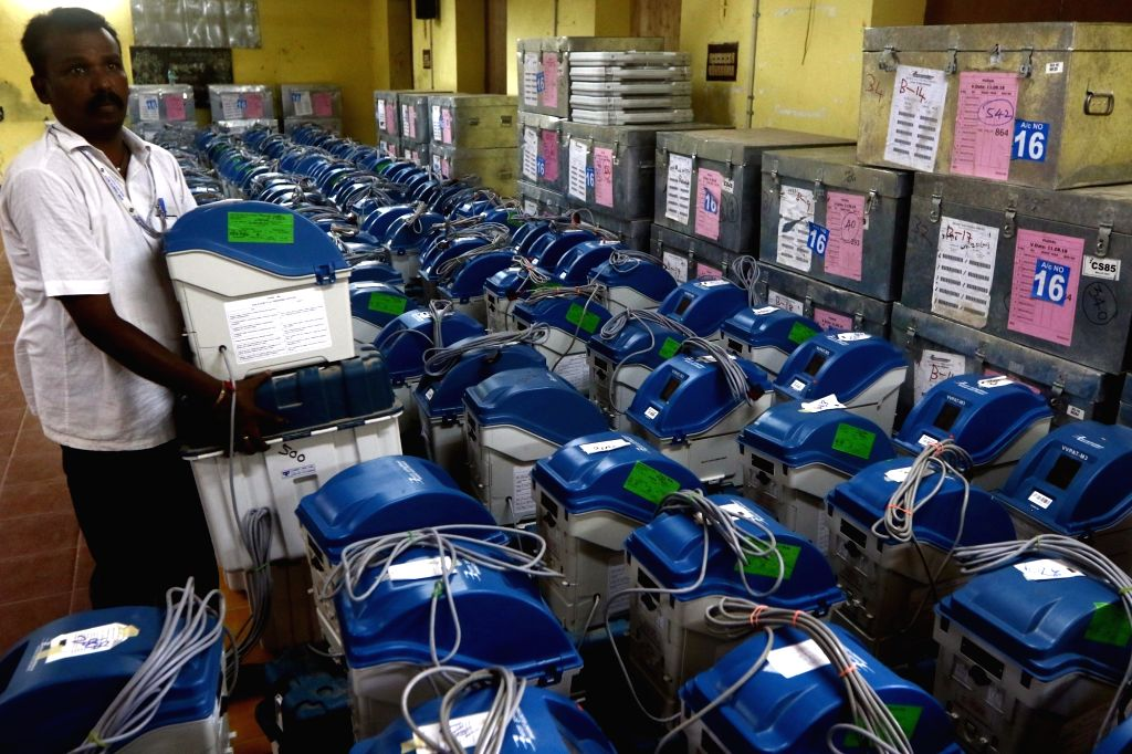 Voter-verified paper audit trail (VVPAT) machines being checked by election officials during 2019 Lok Sabha elections, in Chennai on April 11, 2019.