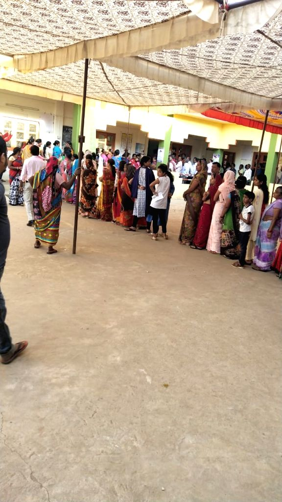 Voters wait in multiple queues to cast their votes for Lok Sabha election at Dantewada in Chhattisgarh on April 11, 2019.