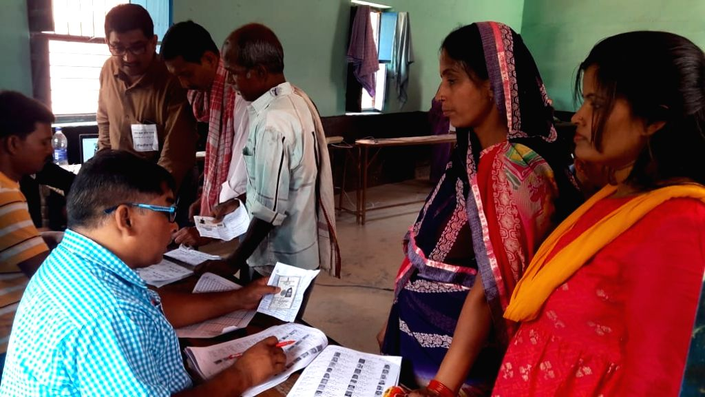 Voting underway during the sixth phase of 2019 Lok Sabha elections, in Chhapra, Bihar on May 12, 2019.