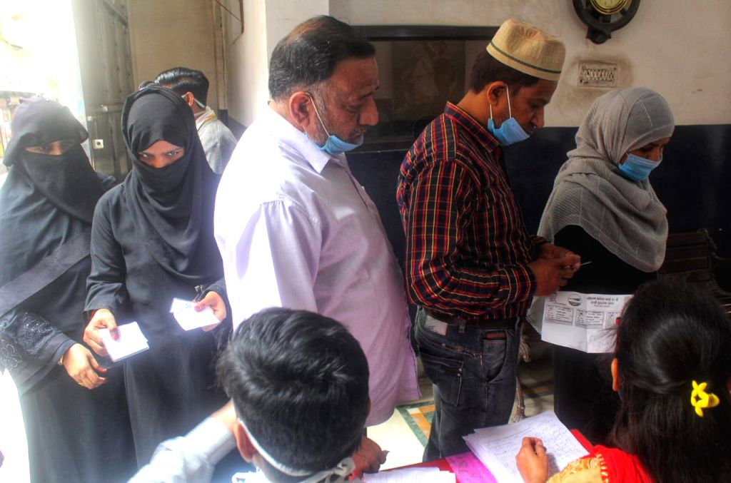 Voting underway for MCD by-polls in New Delhi at Chauhan Bangar Jafrabad on Sunday 28th February, 2021.