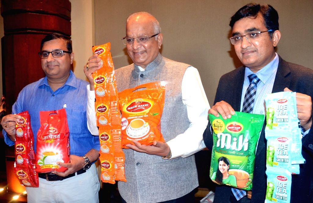 Wagh Bakri Tea Group MD Ramesh Desai, Tea Sommelier and Executive Director Parag Desai and President Sales Vijay Lahoti during a press conference in Bengaluru on June 15, 2017. - Ramesh Desai and Parag Desai