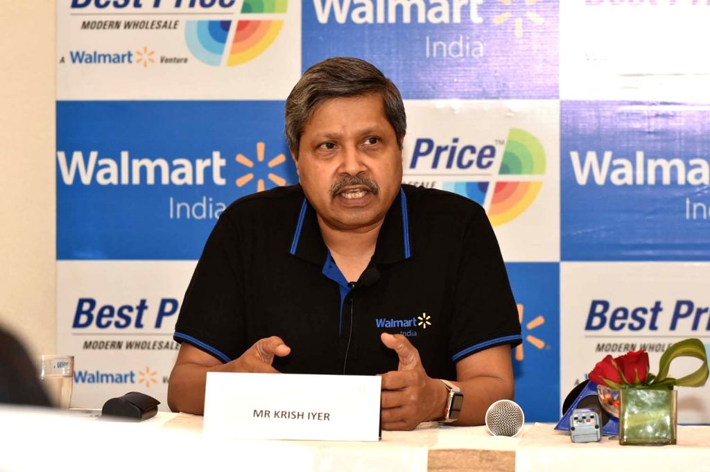Walmart India President and CEO Krish Iyer during a press conference after inaugurating a store in Lucknow on July 23, 2018.