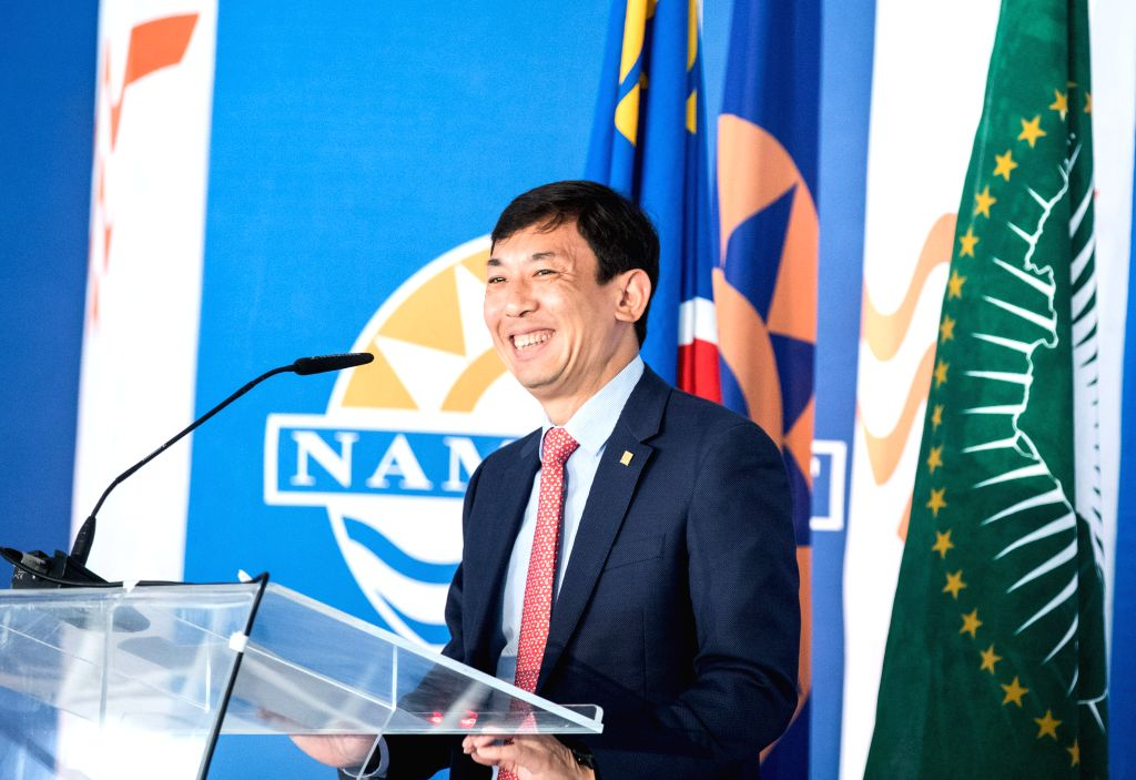 WALVIS BAY (NAMIBIA), Aug. 2, 2019 Li Yi, Vice President of China Harbor Engineering Company Ltd (CHEC), speaks at the inauguration ceremony of the new container terminal in Walvis Bay, ...