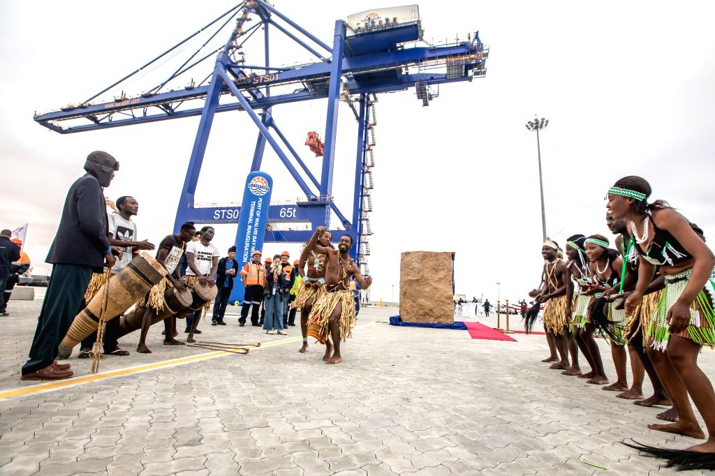 WALVIS BAY (NAMIBIA), Aug. 2, 2019 Local people perform during the inauguration ceremony of the new container terminal in Walvis Bay, Namibia, Aug. 2, 2019. Namibia's quest to become an ...