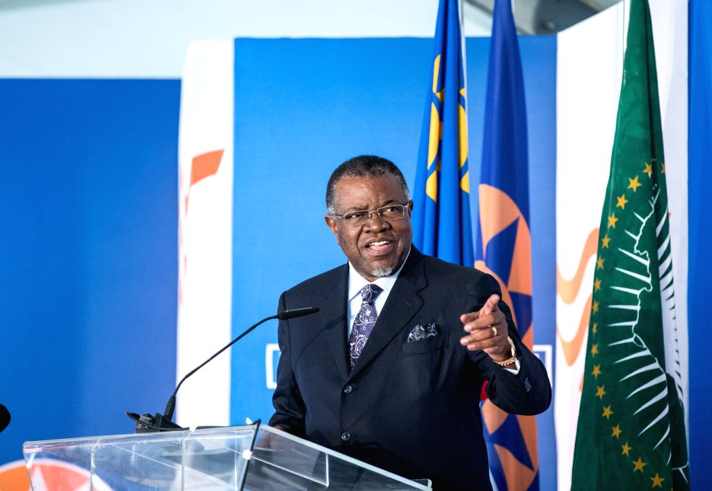 WALVIS BAY (NAMIBIA), Aug. 2, 2019 Namibia's President Hage Geingob delivers a speech at the inauguration ceremony of the new container terminal in Walvis Bay, Namibia, Aug. 2, 2019. ...