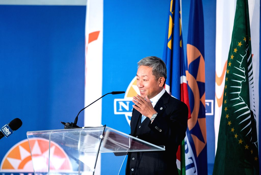 WALVIS BAY (NAMIBIA), Aug. 2, 2019 Zhang Yiming, Chinese Ambassador to Namibia, speaks at the inauguration ceremony of the new container terminal in Walvis Bay, Namibia, Aug. 2, 2019. ...