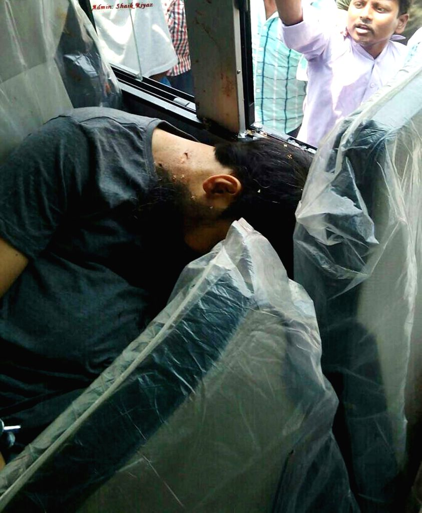 The body of one of the five terror accused who were gunned down by police as they tried to escape from their custody in Telangana's Warangal district on April 7, 2015.