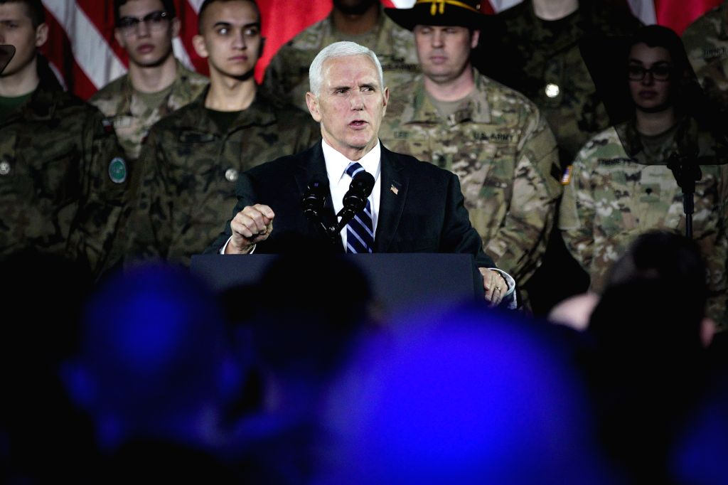 WARSAW, Feb. 13, 2019 - U.S. Vice President Mike Pence (C) speaks to the troops at a military base in Warsaw, Poland, on Feb. 13, 2019. Pence's visit to Warsaw includes the two-day conference on the ...