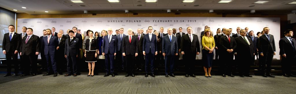 WARSAW, Feb. 14, 2019 - Participants pose for the group photo at the National Stadium during the Warsaw conference on the Middle East in Warsaw, Poland, on Feb. 14, 2019. Poland hosted a two-day ...