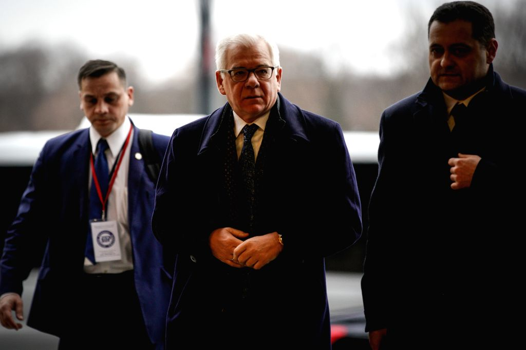 WARSAW, Feb. 14, 2019 - Polish Foreign Minister Jacek Czaputowicz (C) arrives at the National Stadium for the Warsaw conference on the Middle East in Warsaw, Poland, on Feb. 14, 2019. Poland hosted a ... - Jacek Czaputowicz