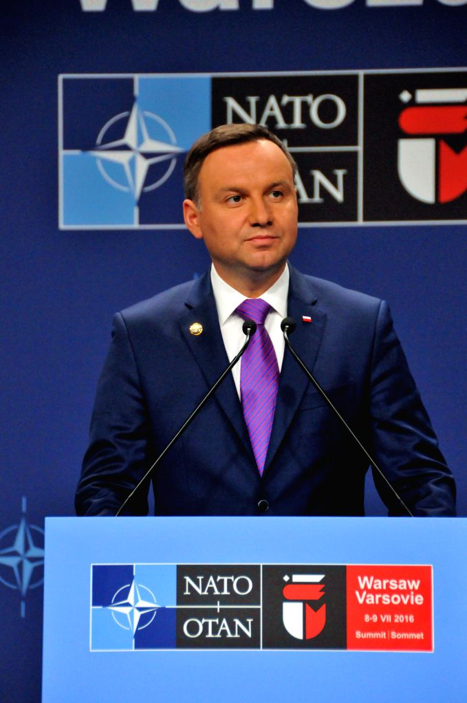 WARSAW, July 10, 2016 - Polish President Andrzej Duda attends a press conference after the closing of Warsaw NATO Summit in Warsaw, capital of Poland, on July 9, 2016. The two-day Warsaw Summit of ...