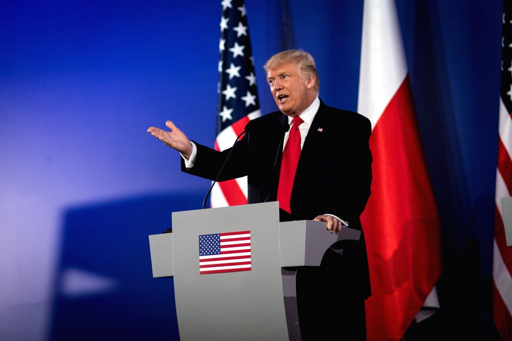 WARSAW, July 6, 2017 - U.S. President Donald Trump attends a joint press conference with Polish President Andrzej Duda (unseen) in Warsaw, Poland, July 6, 2017.