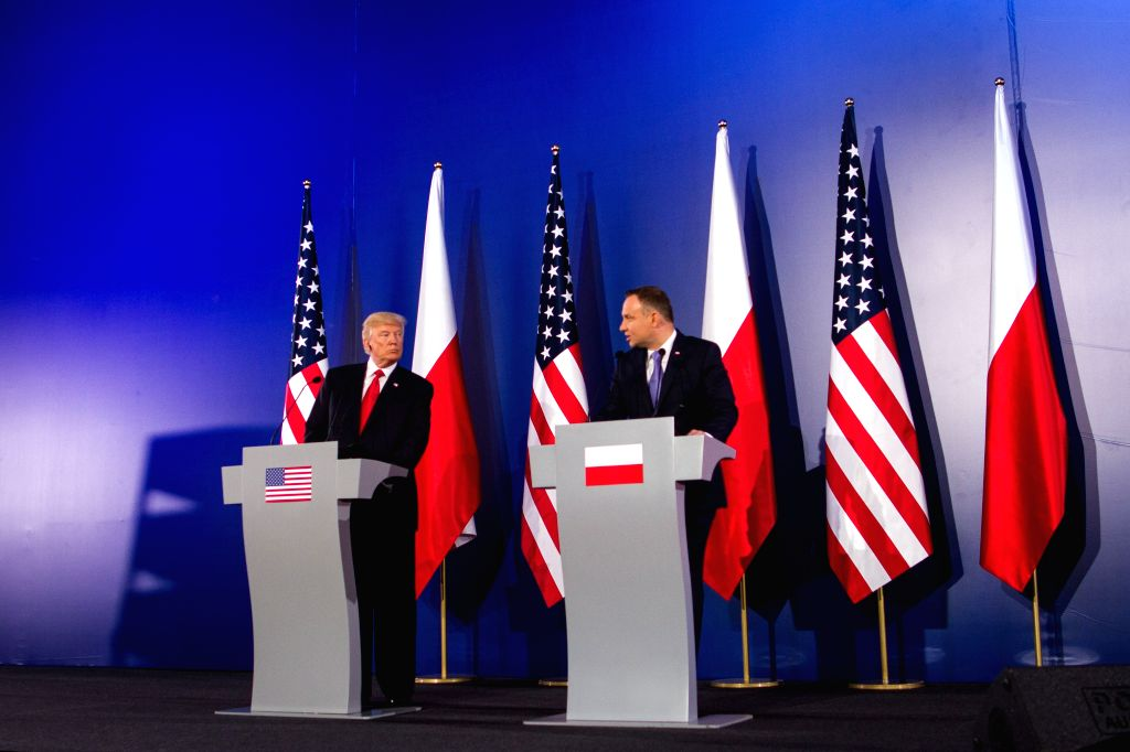 WARSAW, July 6, 2017 - U.S. President Donald Trump (L) and Polish President Andrzej Duda attend a joint press conference in Warsaw, Poland, July 6, 2017.