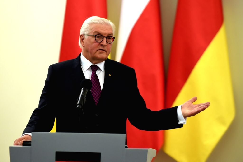 WARSAW, June 5, 2018 - German President Frank-Walter Steinmeier speaks during a press conference in Warsaw, Poland, June 5, 2018. After a meeting with Polish President Andrzej Duda here on Tuesday, ...