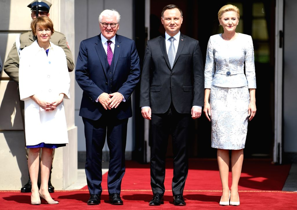 WARSAW, June 5, 2018 - Polish President Andrzej Duda (2nd R) and German President Frank-Walter Steinmeier (2nd L) pose for photos at Presidential Palace in Warsaw, Poland, June 5, 2018. After a ...