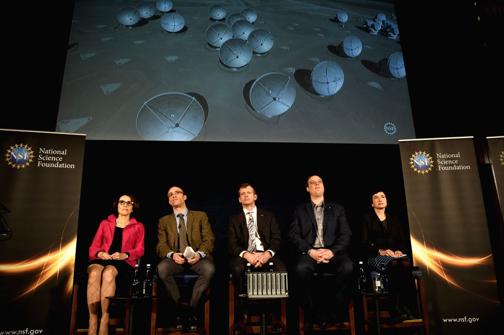 WASHINGTON, April 10, 2019 - Photo taken on April 10, 2019 shows a press conference held by the Event Horizon Telescope (EHT) project and the National Science Foundation (NSF) on EHT result in ...