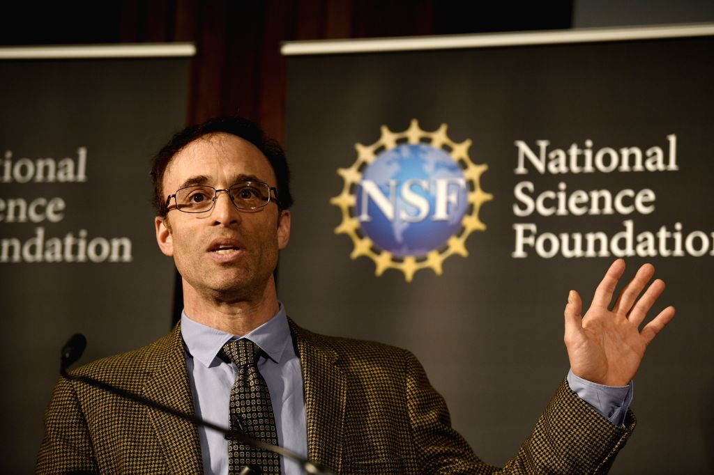 WASHINGTON, April 10, 2019 - Sheperd Doeleman, Project Director of the Event Horizon Telescope (EHT) and an astrophysicist with the Center for Astrophysics | Harvard & Smithsonian, speaks during ...