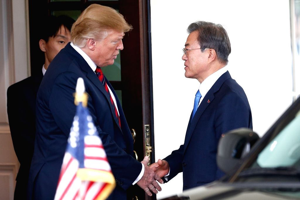 WASHINGTON, April 11, 2019 - U.S. President Donald Trump (L) shakes hands with South Korean President Moon Jae-in during their meeting at the White House in Washington D.C., the United States, on ...