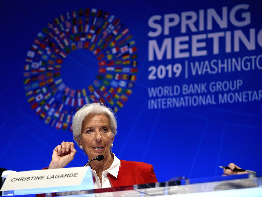 WASHINGTON, April 12, 2019 - Christine Lagarde, International Monetary Fund (IMF) chief, speaks during a press conference at the Spring Meetings of the IMF and the World Bank in Washington D.C., the ...