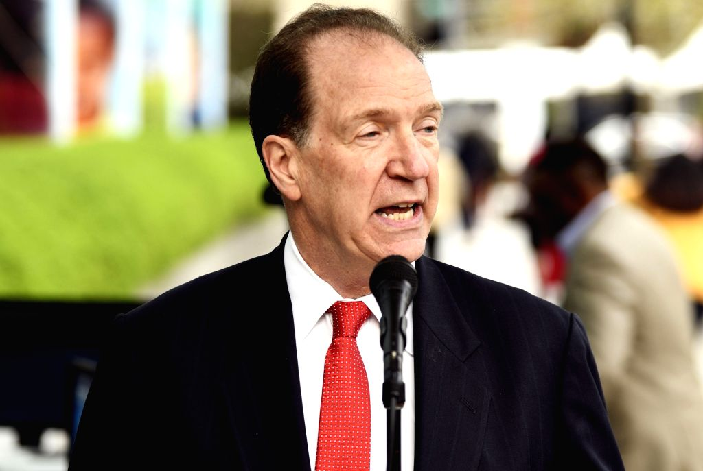WASHINGTON, April 9, 2019 (Xinhua) -- David Malpass speaks in front of the World Bank headquarters in Washington D.C., the United States, on April 9, 2019. David Malpass on Tuesday took office as the president of the World Bank Group, and said he loo