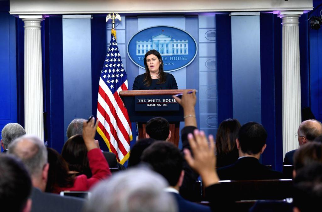 WASHINGTON, Aug. 1, 2018 - White House press secretary Sarah Sanders speaks at a press briefing at the White House in Washington D.C., the United States, Aug. 1, 2018. Sarah Sanders said Wednesday ...