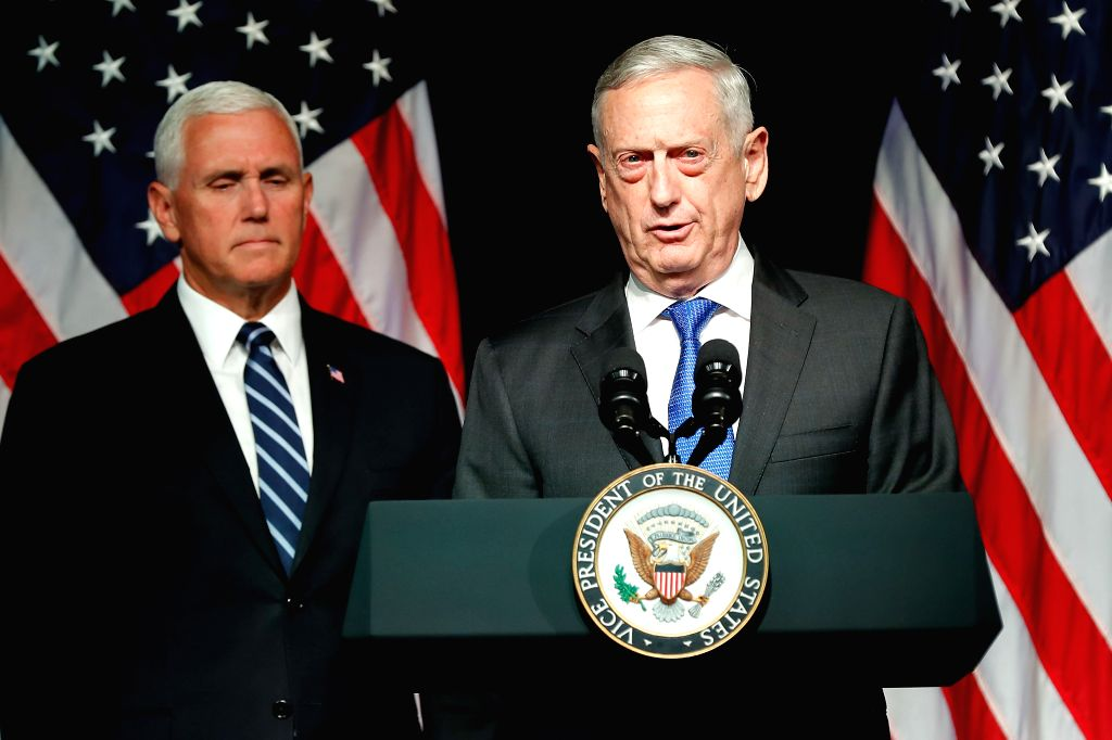 WASHINGTON, Aug. 10, 2018 - U.S. Defense Secretary James Mattis (R) introduces Vice President Mike Pence before he announces the Trump Administration's plan to establish the U.S. Space Force by 2020 ...