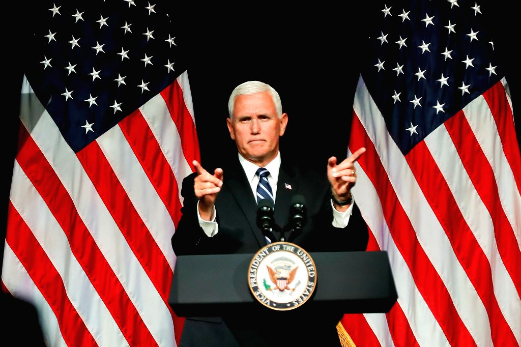 WASHINGTON, Aug. 10, 2018 - U.S. Vice President Mike Pence speaks during an announcement of the Trump Administration's plan to establish the U.S. Space Force by year 2020 at the Pentagon, Virginia, ...