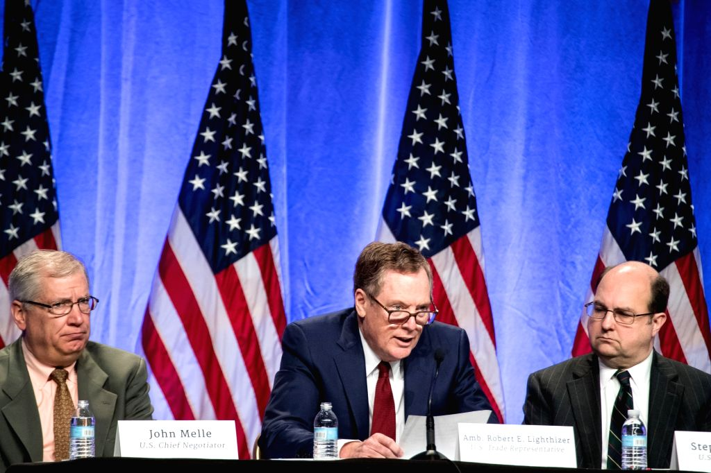 WASHINGTON, Aug. 16, 2017 - U.S. Trade Representative Robert Lighthizer (C) attends the first round of renegotiations on the North American Free Trade Agreement (NAFTA) in Washington D.C., the United ...