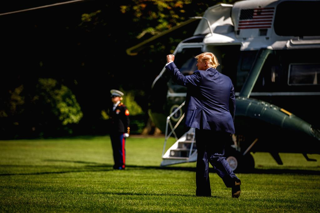 WASHINGTON, Aug. 2, 2019 - U.S. President Donald Trump leaves the White House in Washington D.C. the United States, on Aug. 2, 2019. Donald Trump said Friday that lawmaker John Ratcliffe will no ...