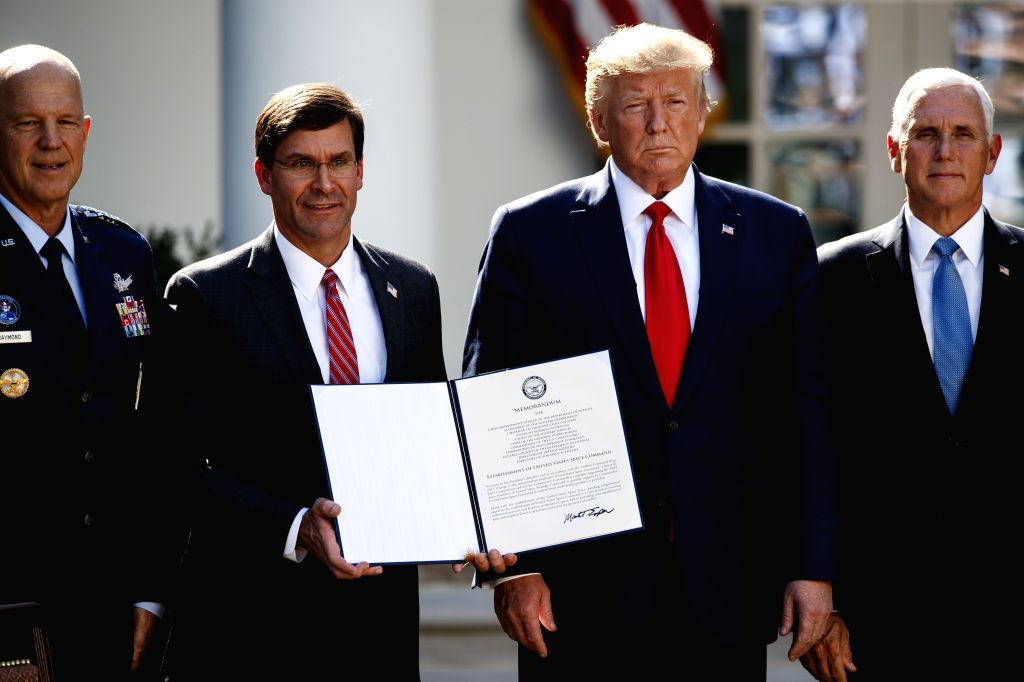 WASHINGTON, Aug. 29, 2019 - U.S. President Donald Trump (2nd R) attends a ceremony at the White House in Washington D.C., the United States, on Aug. 29, 2019. The U.S. government on Thursday ...