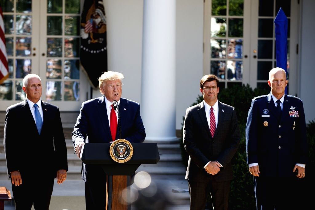 WASHINGTON, Aug. 29, 2019 - U.S. President Donald Trump (2nd L) speaks during a ceremony at the White House in Washington D.C., the United States, on Aug. 29, 2019. The U.S. government on Thursday ...