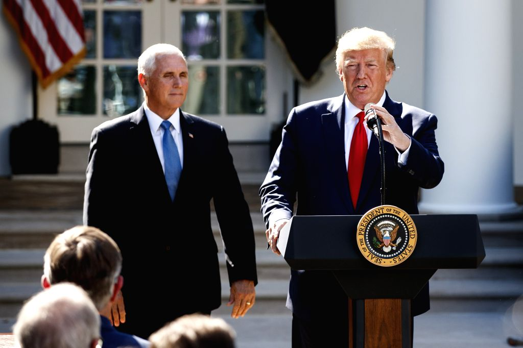 WASHINGTON, Aug. 29, 2019 - U.S. President Donald Trump (R) speaks during a ceremony at the White House in Washington D.C., the United States, on Aug. 29, 2019. The U.S. government on Thursday ...