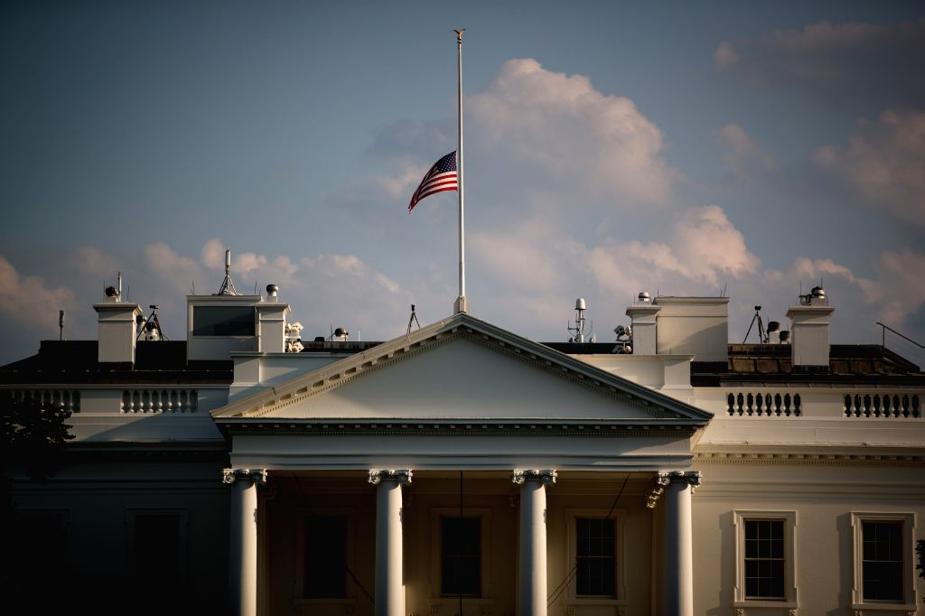WASHINGTON, Aug. 5, 2019 - A U.S. national flag flies at half-mast above the White House to mourn for the mass shooting victims in El Paso and Dayton, Washington D.C., the United States, on Aug. 4, ...