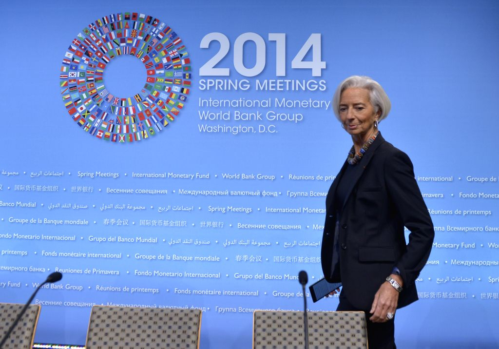 Managing Director of the International Monetary Fund (IMF) Christine Lagarde attends a press conference before the IMF and World Bank spring meetings at ...