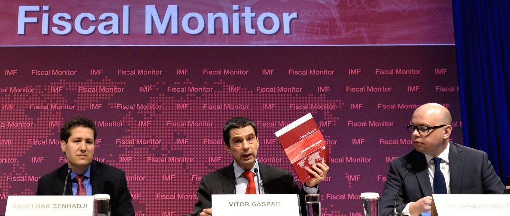 WASHINGTON D.C., April 13, 2016 - Vitor Gaspar (C), director of IMF's Fiscal Affairs Department, speaks at a press conference on the newly-released Fiscal Monitor report in Washington D.C., capital ...