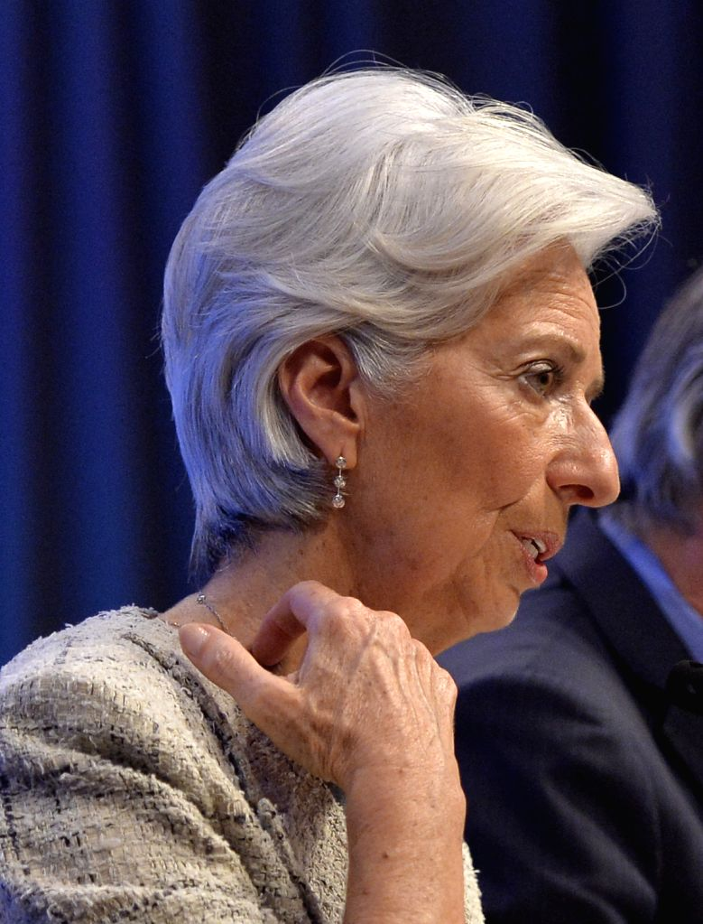 WASHINGTON D.C., April 15, 2016 - International Monetary Fund (IMF) Managing Director Christine Lagarde speaks at a press conference during the IMF-World Bank 2016 Spring Meetings in Washington D.C., ...