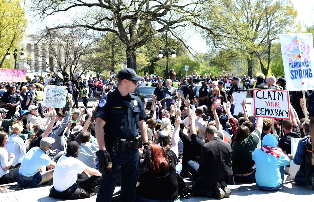 WASHINGTON D.C., April 15, 2016 - People take part in a rally against Money Politics near Capitol Hill in Washington D.C., the United States, on April 15, 2016.