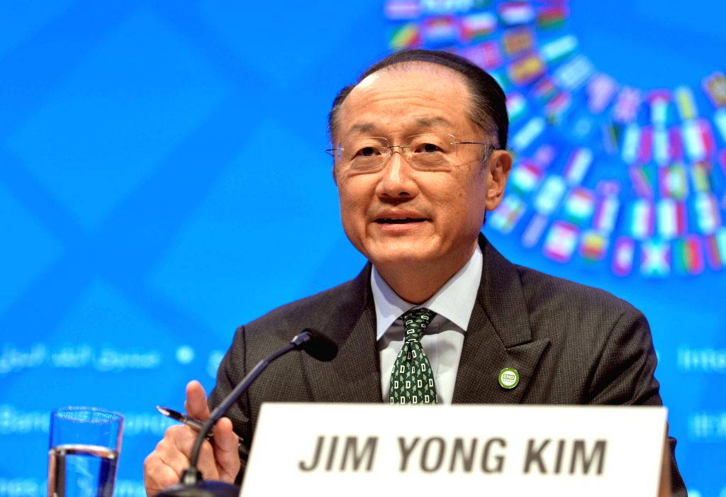 WASHINGTON D.C., April 15, 2016 - World Bank President Jim Yong Kim speaks at a press conference during the IMF-World Bank 2016 Spring Meetings in Washington D.C., capital of the United States, April ...