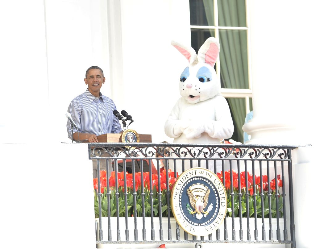 U.S. President Barack Obama speaks before an egg roll race during the White House Easter Egg Roll on the South Lawn of the White House in Washington D.C., .