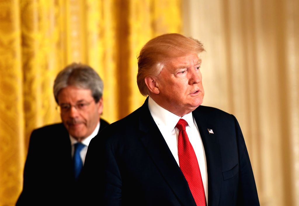 WASHINGTON D.C., April 21, 2017 - U.S. President Donald Trump (R) attends a joint press conference with Italian Prime Minister Paolo Gentiloni at the White House in Washington D.C., the United ... - Paolo Gentiloni