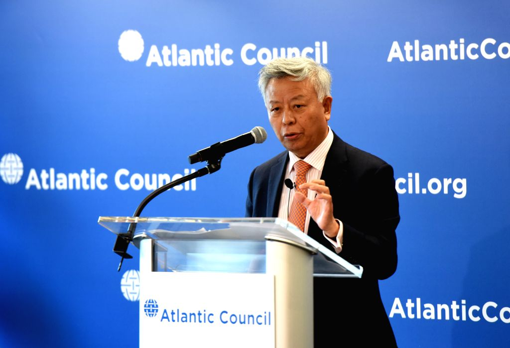 WASHINGTON D.C., April 25, 2017 - Jin Liqun, president of the Asian Infrastructure Investment Bank (AIIB) gives a speech at the Atlantic Council, a Washington-based think tank, in Washington D.C., ...